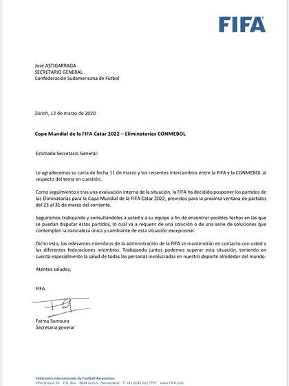 La carta de la FIFA en la que se oficializa la postergación de las dos primeras fechas de las Eliminatorias