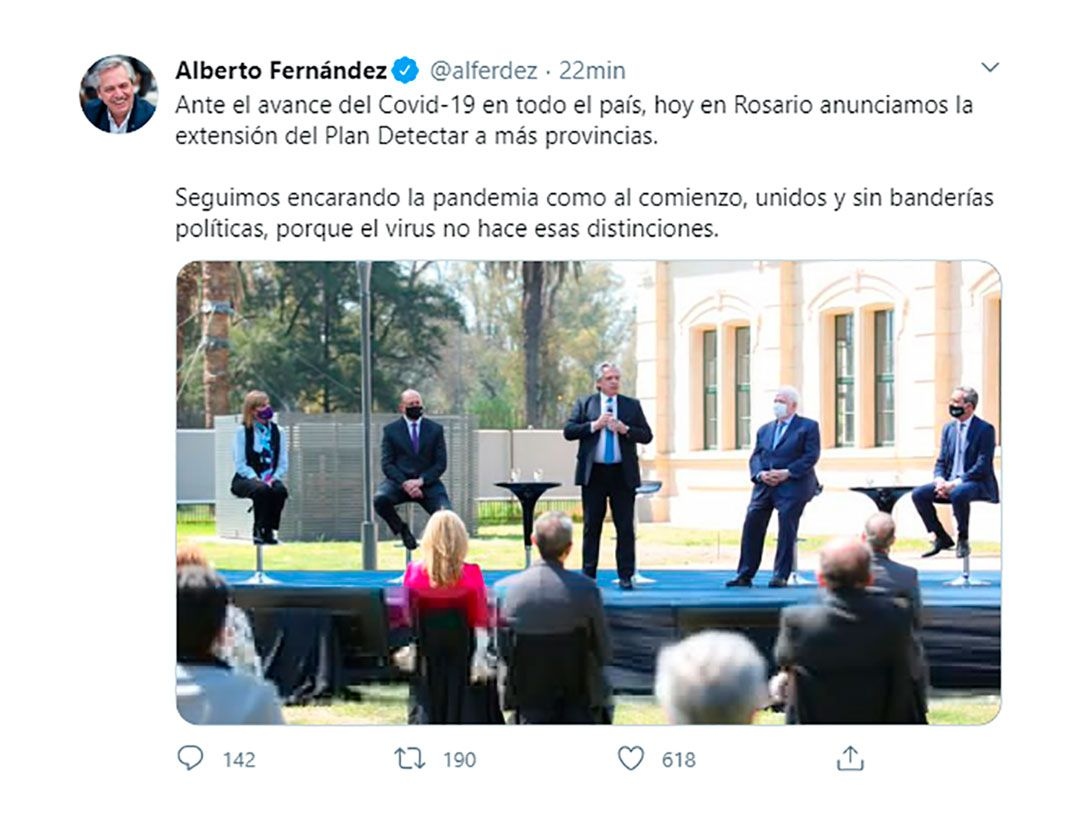 Tweet de Alberto Fernández en Twitter