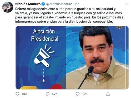 Tuit de Nicolás Maduro
