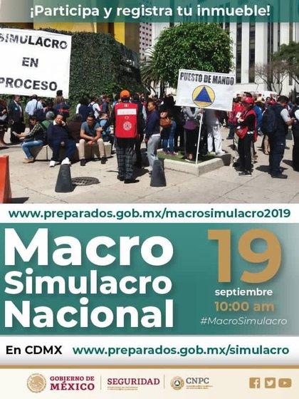 Protección Civil pidió a los ciudadanos para estar atentos al macrosimulacro en Ciudad de México (Foto: especial)