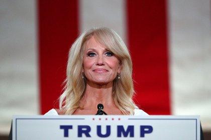 Kellyanne Conway durante su discurso de este miércoles en la convención republicana.  REUTERS / Tom Brenner