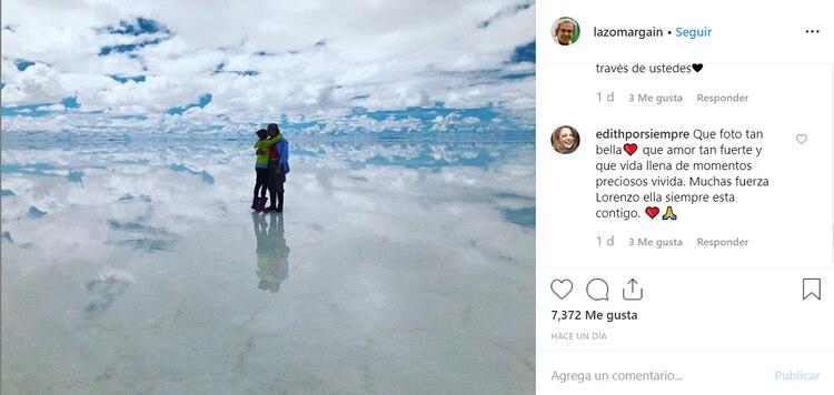 Lorenzo publicó una foto donde está con Edith González en Bolivia (Foto: Instagram)