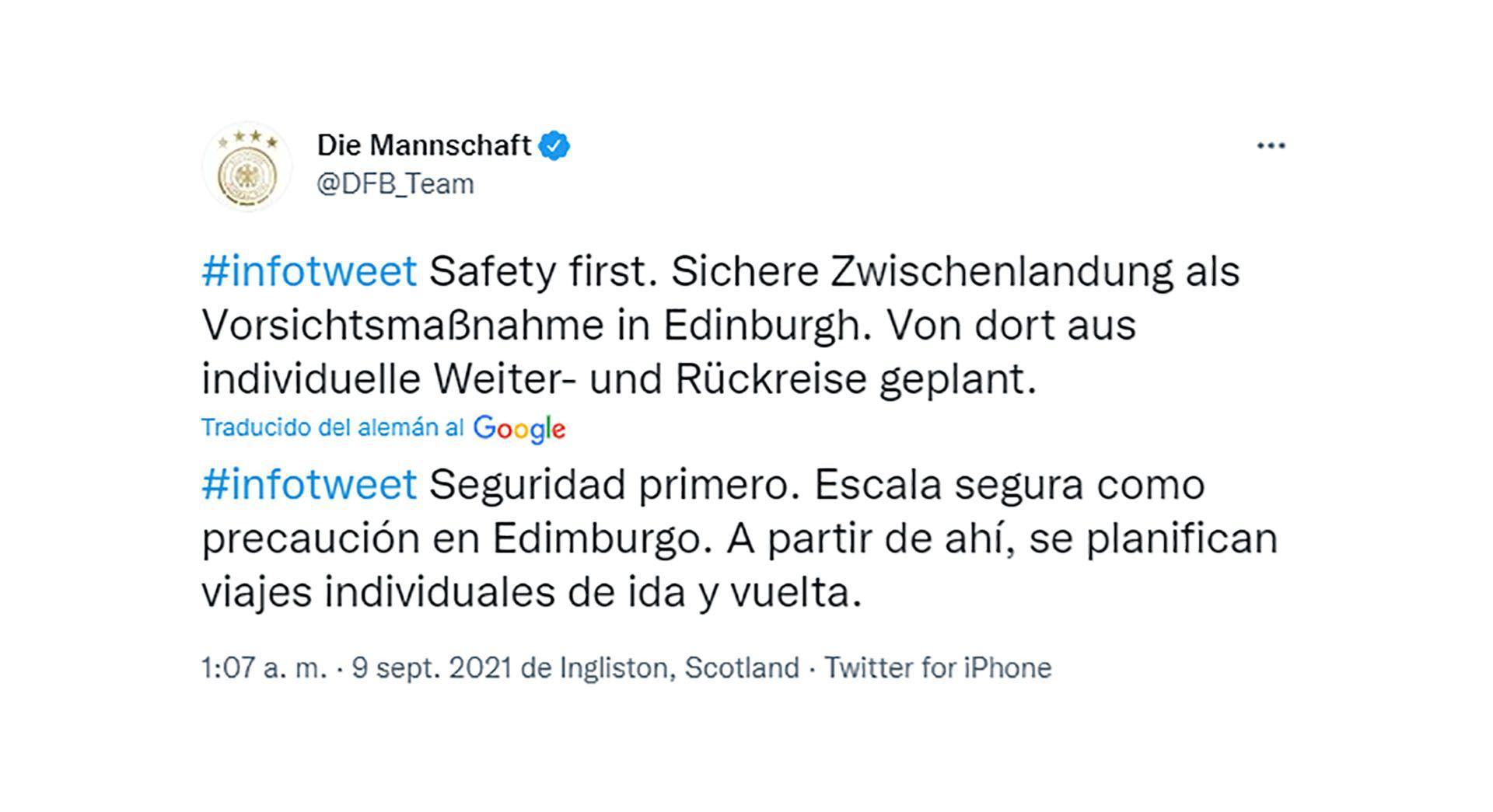 Aterrizaje de emergencia de la selección alemana de fútbol