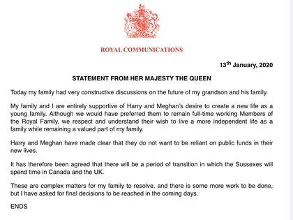 Comunicado del Palacio de Buckingham