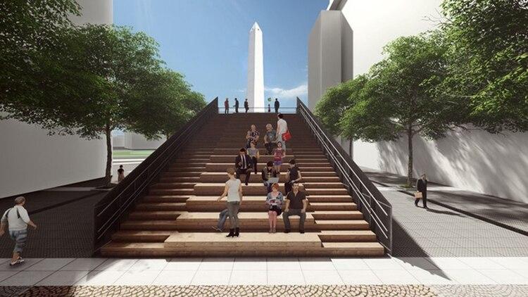 La escalera será de madera y servirá como un nuevo atractivo turístico