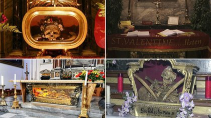 Relicario de San Valentín en Santa María in Cósmedin, Roma. San Valentín en Dublín, Irlanda. Cuerpo de San Valentín (sin su cabeza) en Terni.  Y San Valentín en la Iglesia de San Antón, Madrid
