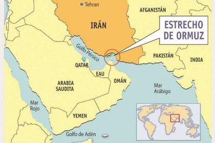 Mapa del Estrecho de Ormuz