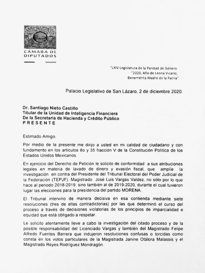 Primera parte de la carta de Porfirio Muñoz Ledo a la UIF (Foto: Twitter / @PMunozLedo)
