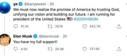 El 4 de julio, Día de la Independencia, anunció su candidatura a la presidencia de Estados Unidos. Elon Musk expresó su apoyo al cantante a través de Twitter