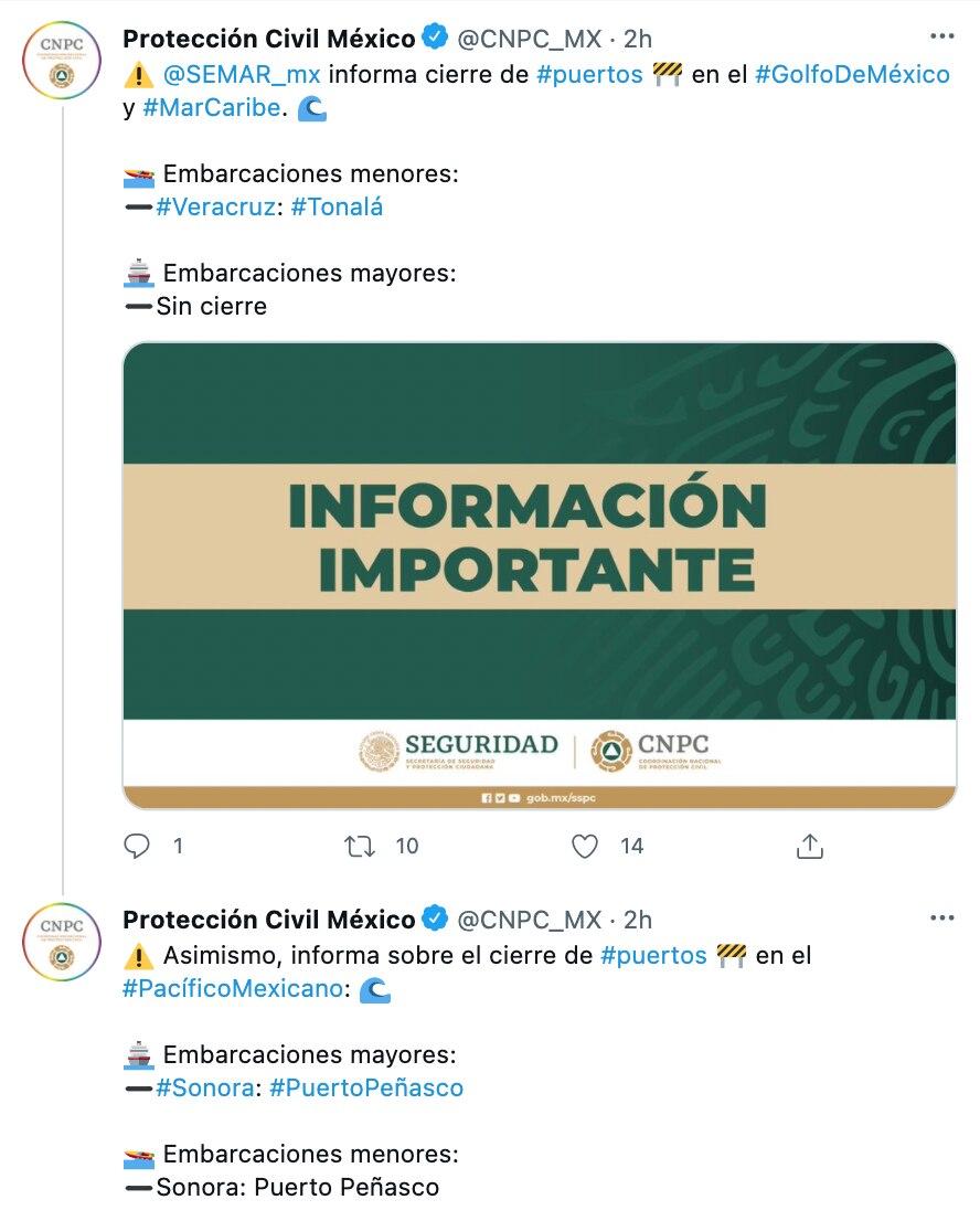 Las restricciones se aplicarán en puertos del Mar Caribe, Pacífico y Golfo de México (Foto: Twitter@CNPC_MX)
