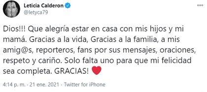 El mensaje con el que la actriz habló de su salida del hospital tras contagio de COVID
