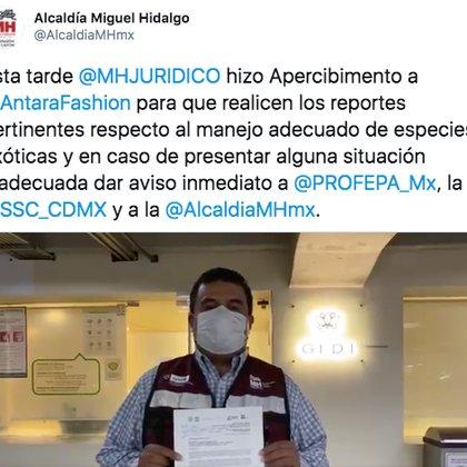 La alcaldía Miguel Hidalgo hizo apecibimiento al centro comercial Antara para que realicen los reportes pertinentes respecto al manejo adecuado de especies exóticas (Foto: Twitter)