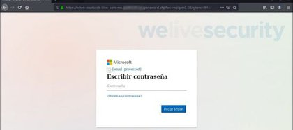 El usuario es redirigido a una página falsa, donde se le pide que ingrese el nombre de usuario y la contraseña (Eset).