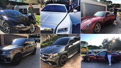 La colección de choces de Cristiano Ronaldo incluye marcas como Ferrari, Maserati, Bugatti y Rolls-Royce, entre otras