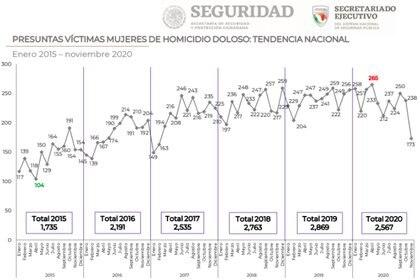 El Secretariado mostró que los datos brutos de las muertes de mujeres por homicidio doloso también sufrieron un imparable incremento (Foto: SESNSP)