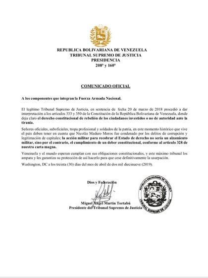 El comunicado del Tribunal Supremo venezolano en el exilio
