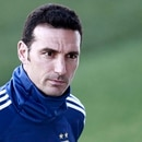 Argentina's coach Lionel Scaloni attends a training session at Real Madrid's training facilities of Valdebebas in Madrid on March 20, 2019, ahead of an international friendly football match between Argentina and Venezuela in preparation for the Copa America to be held in Brazil in June and July 2019. (Photo by BENJAMIN CREMEL / AFP)