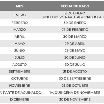 Calendario de pensiones. (Foto: ISSSTE)