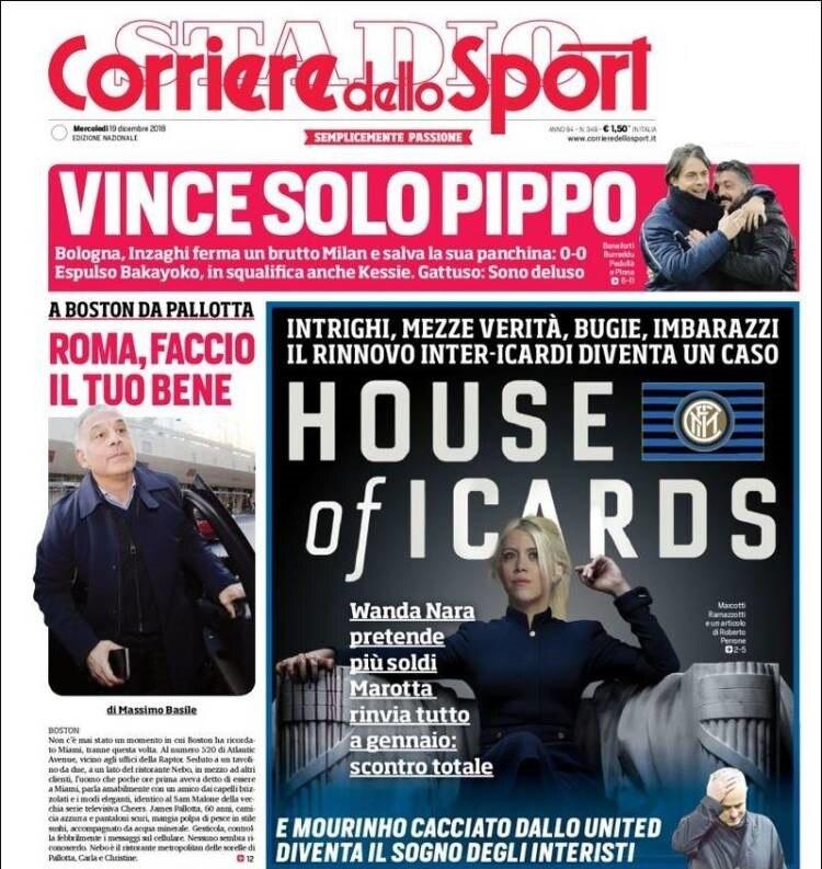 La portada de Corriere dello Sport que alertó del malestar entre la dirigencia del inter y Wanda Nara