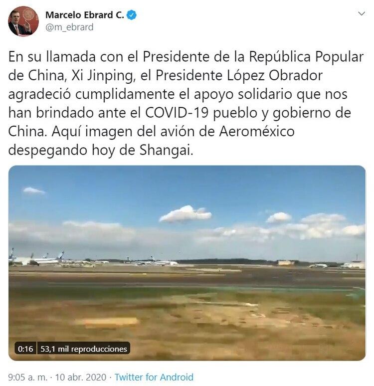 Marcelo Ebrard compartió un tuit (Foto: Twitter)