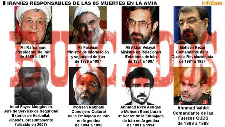 Los 8 iraníes que la Justicia argentina determinó que fueron responsables del atentado