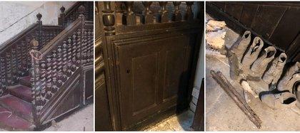 Bajo esta escalera, construida en el siglo XVIII, se encontraron zapatos, sombreros y huesos abandonados, aparentemente de animales, cuyo motivo era intimidar a las brujas և Foto: (Instagram plaus.uchaf)