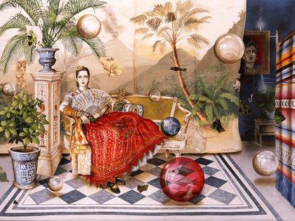 """""""Retrato de Elizabeth"""" (2000), de Julio Galán. Óleo sobre tela, en el Museo Amparo, Puebla, México"""