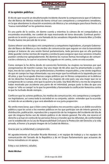 La senadora Mícher ofreció una disculpa en su momento tras lo sucedido en la reunión virtual (Foto: Twitter @MaluMicher)