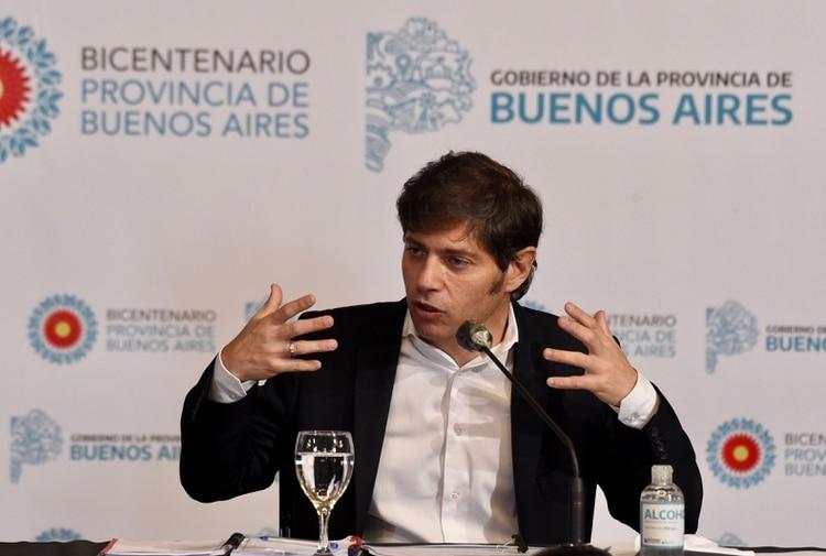 Axel Kicillof, durante una conferencia de prensa en la sede de la gobernación de Buenos Aires (Aglaplata)