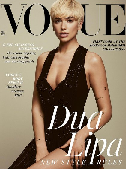 Dua Lipa posando para British Vogue (@britishvogue)
