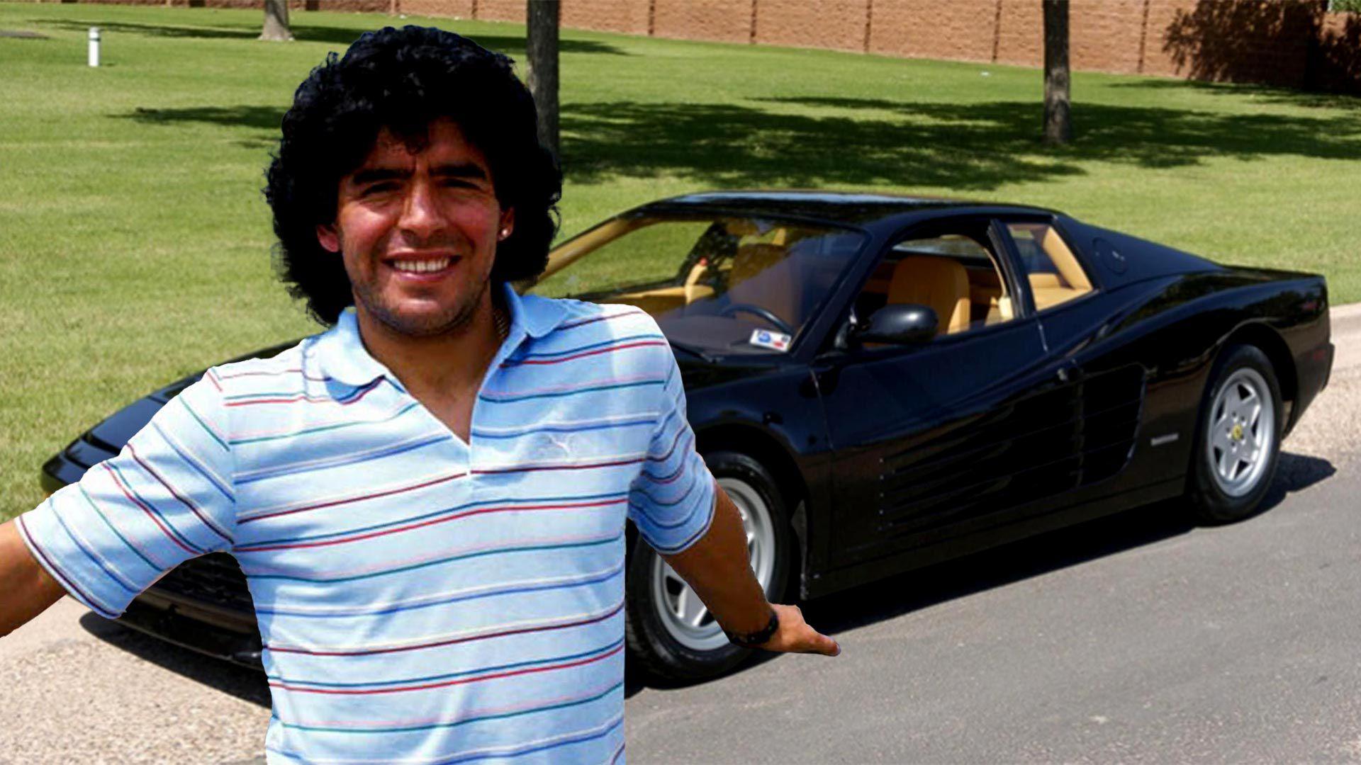 Maradona Ferrari negra 1920 collage