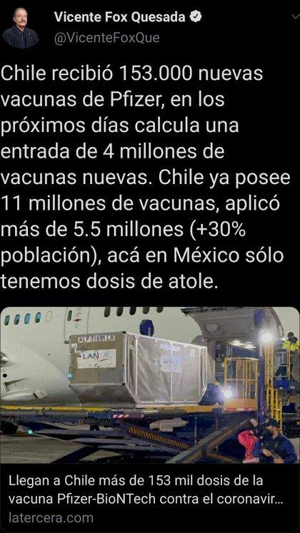 """icente Fox Quesada criticó el Plan Nacional de Vacunación llevado a cabo por el Gobierno Federal de cara a la crisis sanitaria por la COVID-19 y lo comparó con el plan chileno de """"Yo me Vacuno"""" (Foto: Twitter/ @VicenteFoxQue)"""