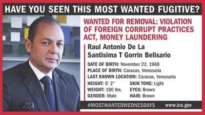 El cartel de buscado emitido por el FBI sobre Raúl Gorrín Belisario