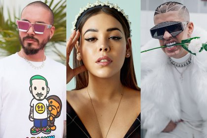 Danna Paola, J Balvin and Bad Bunny will be presented on stage at the Spotify Awards 2020 (Photo: Instagram@dannapaola/@together/@badbunnypr)