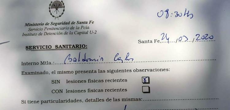 El certificado que constata que Baldomir logró escapar del motín