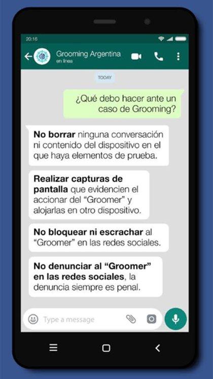 La información brindada por Grooming Argentina