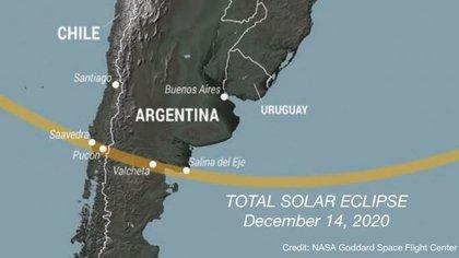 Este lunes 14 de diciembre ocurrirá un eclipse total de Sol que será visible en el Océano Pacífico, Sudamérica, la Antártida y el Océano Atlántico. Será el único de 2020. (NASA)