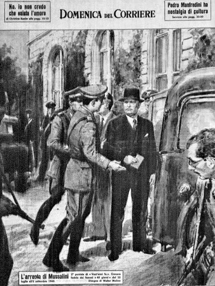 """El arresto de Mussolini tras su reunión con Victor Emanuel en un dibujo del diario """"La Domenica del Corriere"""""""