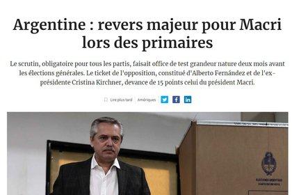 """Un """"serio revés"""" para Macri en las primarias, dice Les Echos"""
