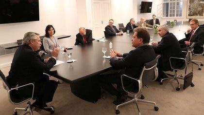 La reunión del 11 de junio, cuando el presidente recibió en Olivos a ejecutivos de Vicentin acompañado del gobernador de Santa Fe, Omar Perotti, y miembros del Gabinete