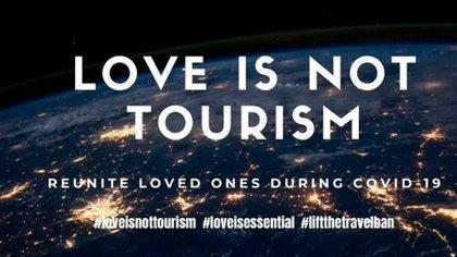 """""""Love is not Tourism"""", un movimiento global en redes que reclama a los gobiernos para que permitan a las personas viajar para reunirse con sus parejas"""