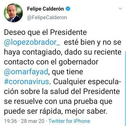 Felipe Calderón Twitter 28.03.2020