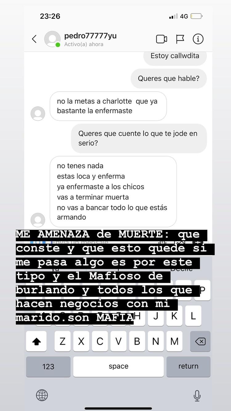 Los supuestos chats entre Mariana Nannis y Claudio Caniggia (Instagram)
