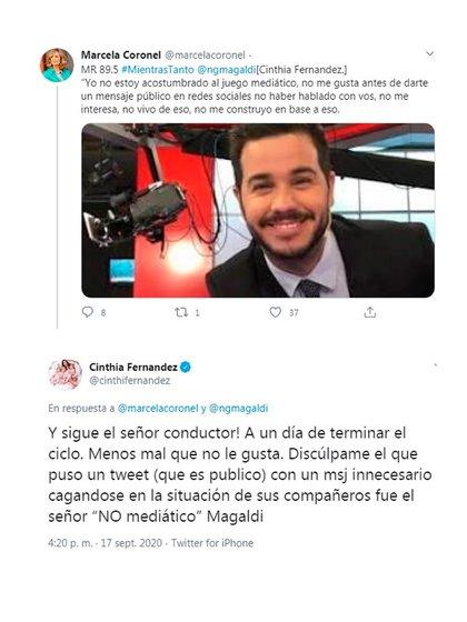 La respuesta de Cinthia Fernández en Twitter a Nicolás Magaldi
