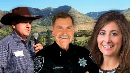 De izquierda a derecha, Ammon Bundy, el sheriff Daryl Wheeler y la legisladora Heather Scott. Tres rostros de la rebelión contra el confinamiento