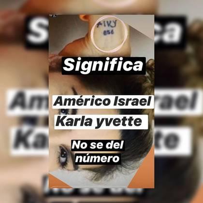 Supuestamente, las letras que acompañan al número 856 en el tatuaje de Karla Panini son las iniciales de los dos nombres de la pareja envuelta en el escándalo reavivado (Foto: Instagram@chicapicosa2)