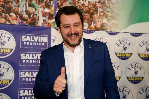 El líder de la Liga Matteo Salvini durante la conferencia de prensa de este lunes (REUTERS/Stefano Rellandini)