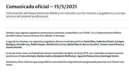 River informó oficialmente los 15 casos positivos de coronavirus que detectó este sábado