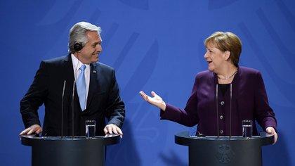 Alberto Fernández y Ángela Merkel en Berlín