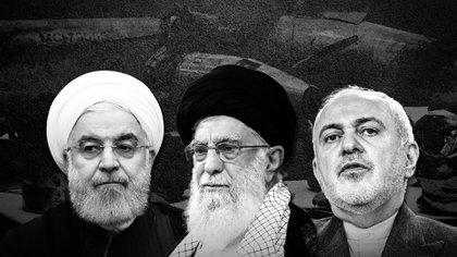 Hassan Rouhani, el Ayatollah Khamenei y el canciller Mohamad Zarif, protagonistas de la escalada en el Golfo Pérsico